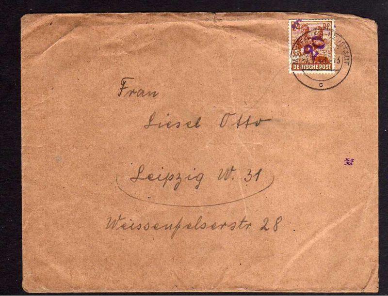 H852 Brief Bezirkshandstempel Bezirk 20 Magdeburg Neustadt 7.7.48 nach Leipzig 0