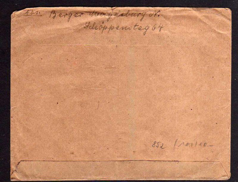 h852 Brief Bezirkshandstempel Bezirk 20 Magdeburg Neustadt 7.7.48 nach Leipzig 1