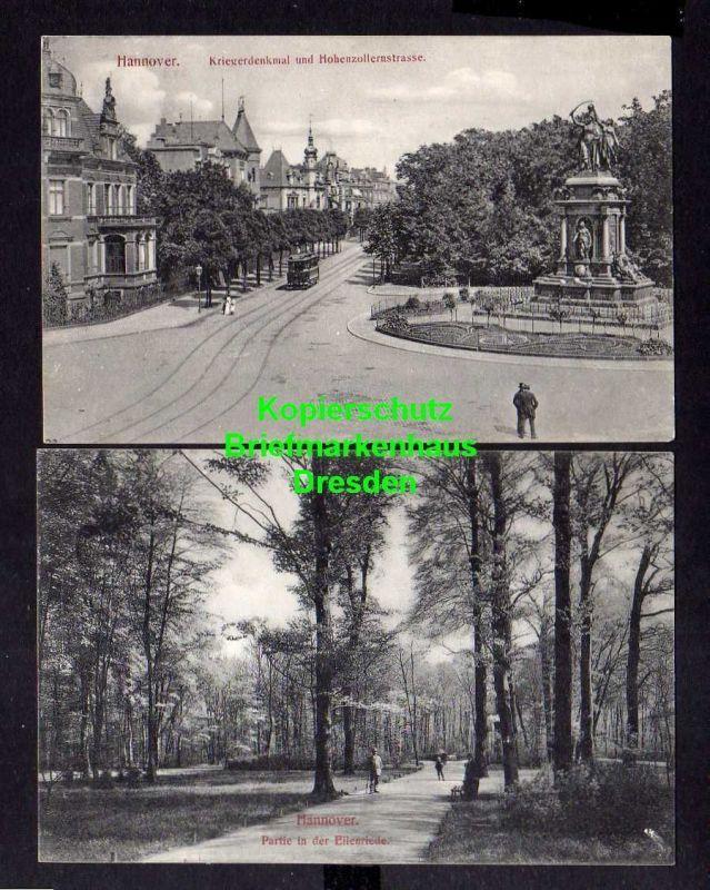 2 Ansichtskarte Hannover Eilenriede 1909 Kriegerdenkmal Hohenzollernstrasse 1909 0