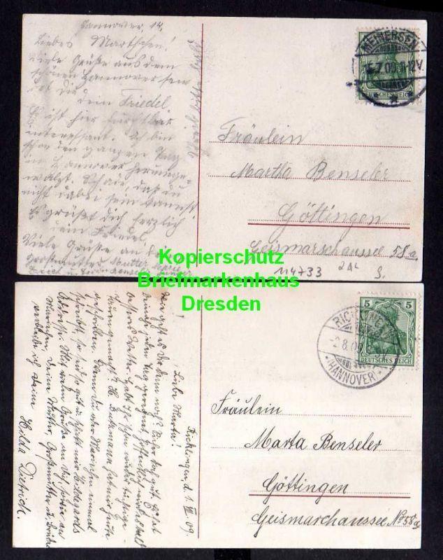 2 Ansichtskarte Hannover Eilenriede 1909 Kriegerdenkmal Hohenzollernstrasse 1909 1