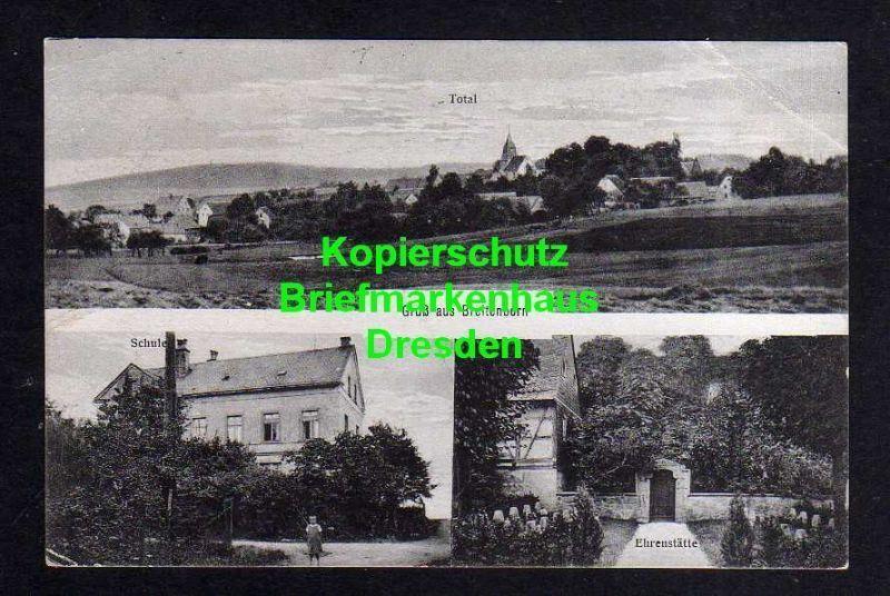 Ansichtskarte Breitenborn Rochlitz 1920 Total Schule Ehrenstätte Stempel Narsdorf 0