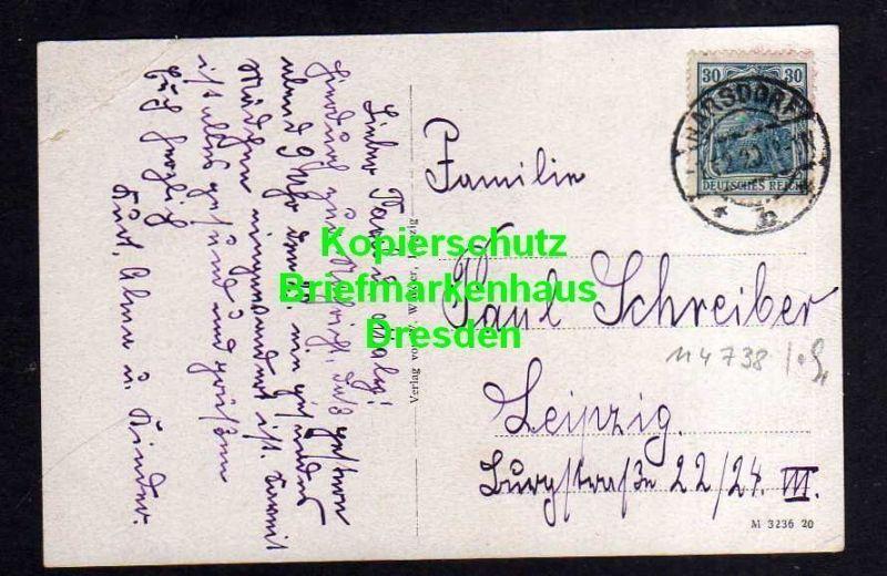 Ansichtskarte Breitenborn Rochlitz 1920 Total Schule Ehrenstätte Stempel Narsdorf 1