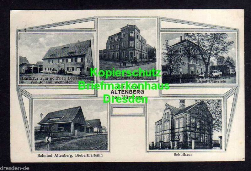 Ansichtskarte Altenberg bei Nürnberg 1926 Bahnhof Biebertalbahn Gasthof Goldner Löwe