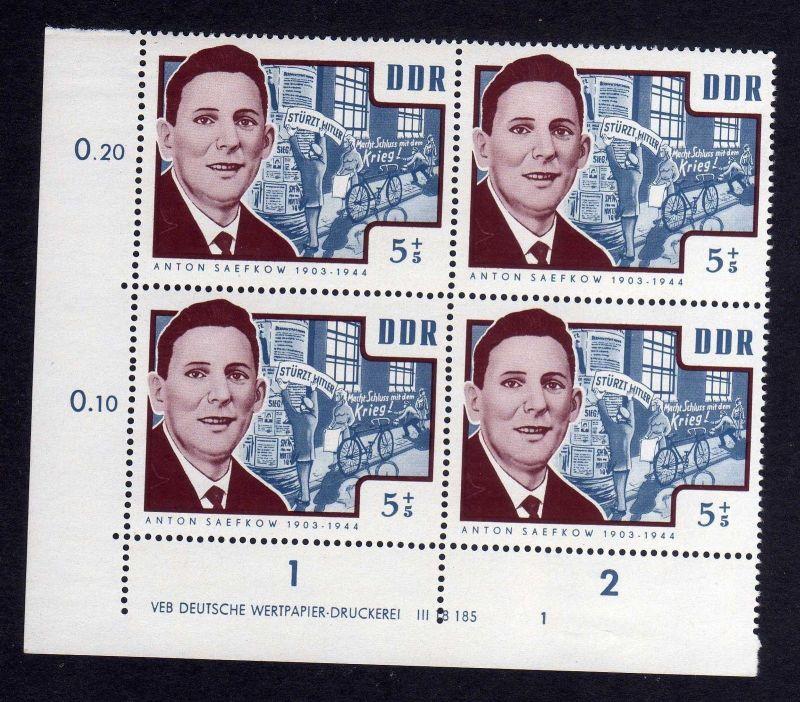 DDR 1964 1014 DV Druckvermerk 1 **  Antifaschisten Anton Saefkow