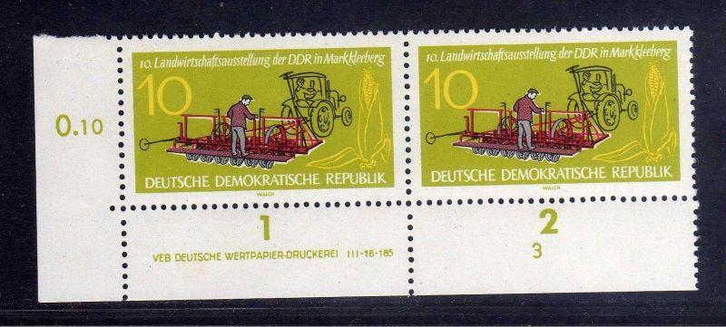 DDR 1962 895 DV Formnummer 3 Druckvermerk **  Landwirtschaftsausstellung Mar