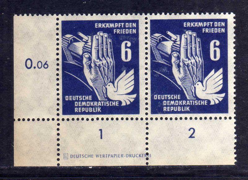 DDR 1950 276 Frieden ** DZ 1 Druckereizeichen ungefalten, nicht angetrennt a