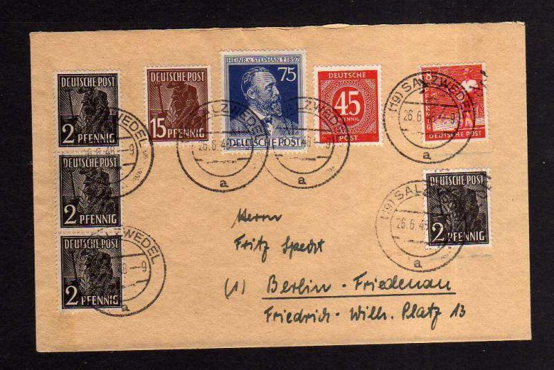 h874 Brief Handstempel Bezirk 29 Salzwedel 26.6.48 2 + 8 Pfennig + Zehnfachfrank