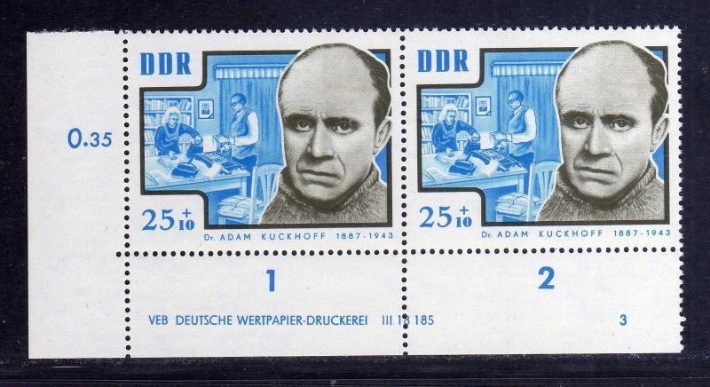 DDR 1964 1018 DV Druckvermerk FN 3 **  Antifaschisten Adam Kuckhoff