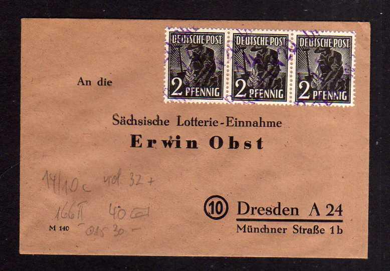 H1071 Brief Handstempel Bezirk 14 Dresden 20 3x 2 Pfg. Lotterie Brief Sächsische