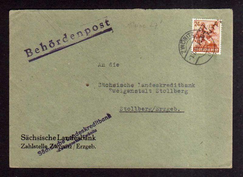 H1265 Brief Handstempel Bezirk 27 Zwönitz 1.7.48 Sächsische Landeskreditbank Beh