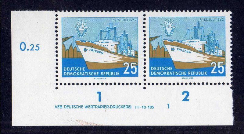 DDR 1962 900 DV Formnummer 1 Druckvermerk **  Ostseewoche Rostock