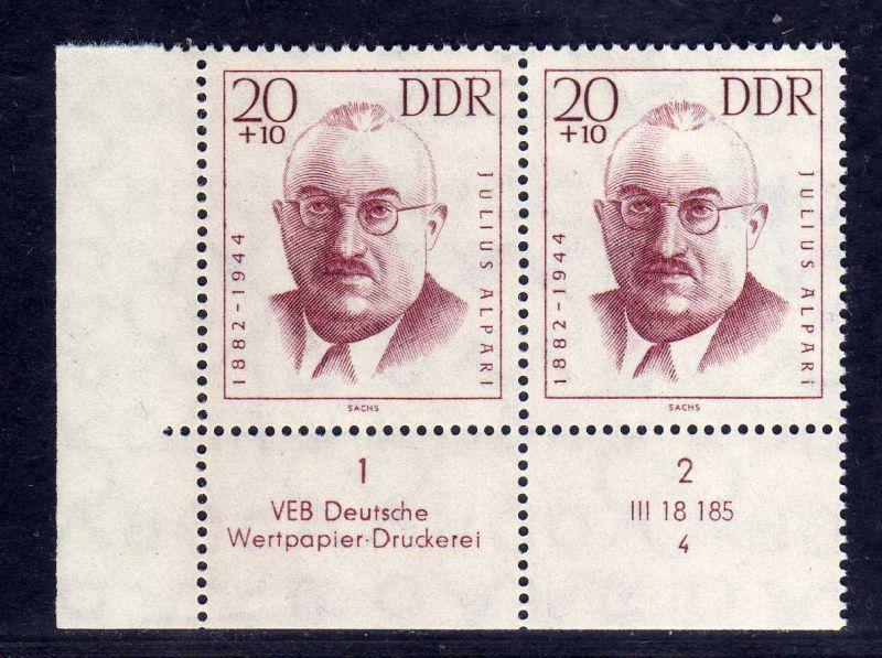 DDR 1962 921 DV Formnummer 4 Druckvermerk ** Antifaschisten 20+10 Pfg.
