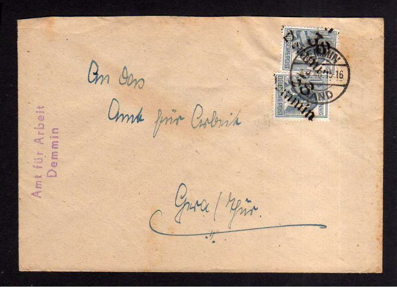 h1024 Brief Handstempel Bezirk 38 Demmin gepr. Dr. Modry BPP 2x 12 Pfg. 3.7.48 B