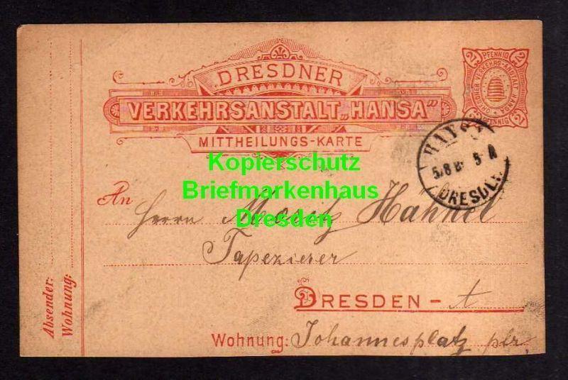 Privatpost Hansa Dresden 1889 Ganzsache Mitteilungs Karte an Tapezierer M