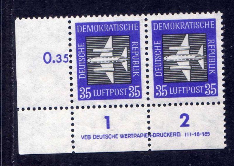 DDR 1957 611 Luftpost Dauerserie 35 Pfg. R 1-2 ** DV ungefalten nicht angetr