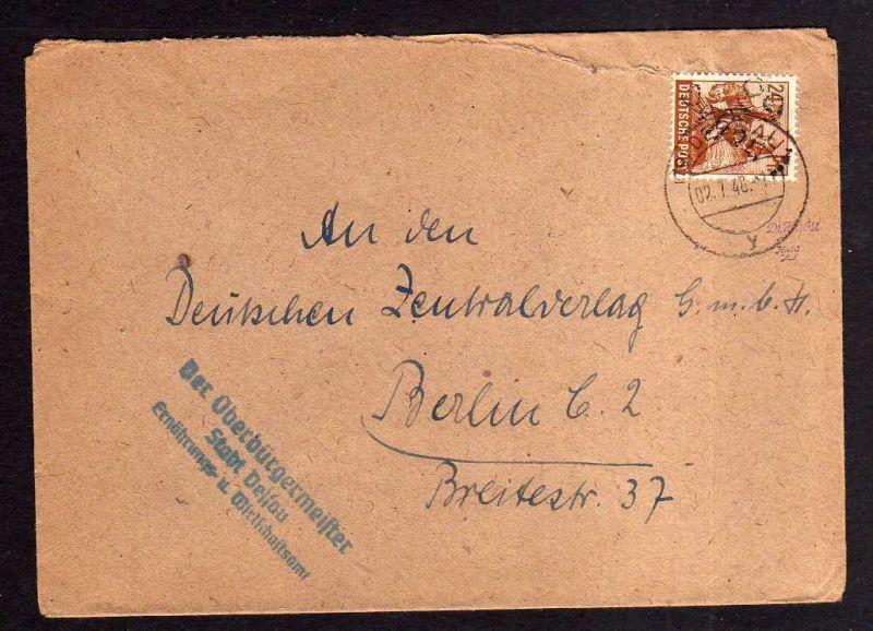 h870 Brief Handstempel Bezirk 29Dessau 2.7.48 Oberbürgermeister Dessau an Deutsc