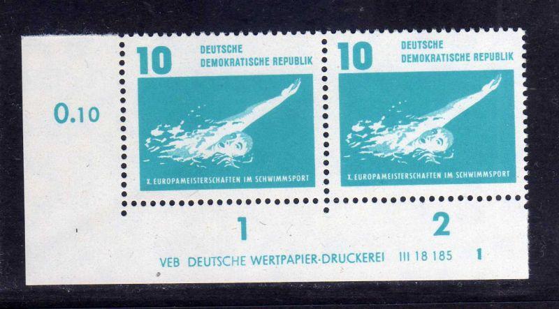 DDR 1962 907 DV Formnummer 1 Druckvermerk **  Schwimm EM Leipzig Europameist