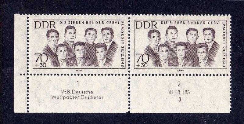 DDR 1962 922 DV Formnummer 3 Druckvermerk ** Antifaschisten 70+30 Pfg.