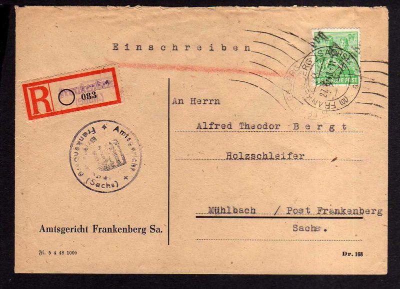 h891 Brief Handstempel Bezirk 41 Frankenberg 27.6.48 Einschreiben Amtsgericht