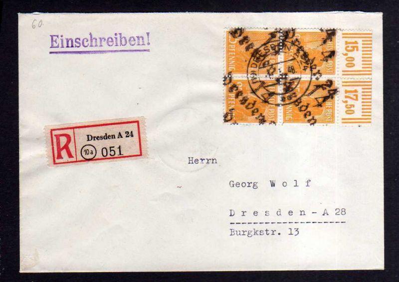 H1152 Brief Handstempel Bezirk 14 Dresden 24 2x 25 Pfg. Viererblock Oberrand 1.7