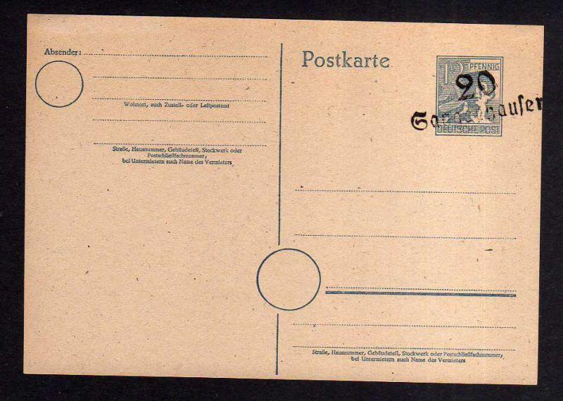 h978 Handstempel Bezirk 20 Halle Ganzsache AS 12 Pfg. Sangerhausen Handbuch 137