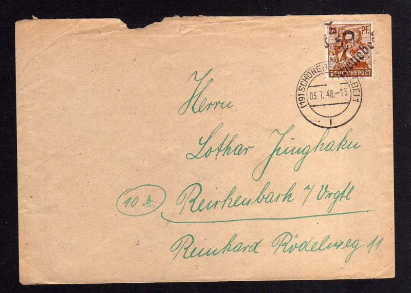 h876 Brief Handstempel Bezirk 29 Schönebeck 2 3.7.48 24 Pfennig gepr. Dr. Modry