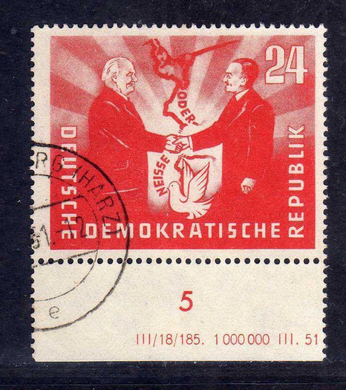 DDR 1951 284 Deutsch-polnische Freundschaft DV Druckvermerk ohne Seitenrand