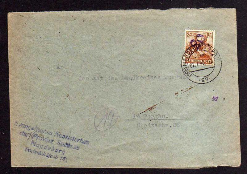 h854 Brief Bezirkshandstempel Bezirk 20 Magdeburg 02.7.48 nach Torgau