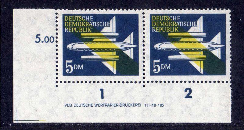DDR 1957 615 Luftpost Dauerserie 5.- Mark R 1-2 ** DV ungefalten nicht anget