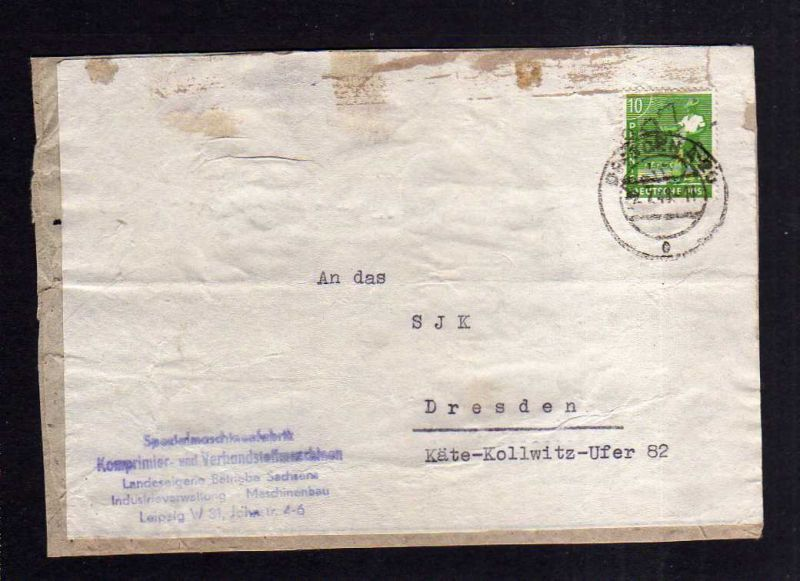 h1268 Brief Handstempel Bezirk 27 Leipzig 2.7.48 Notumschlag