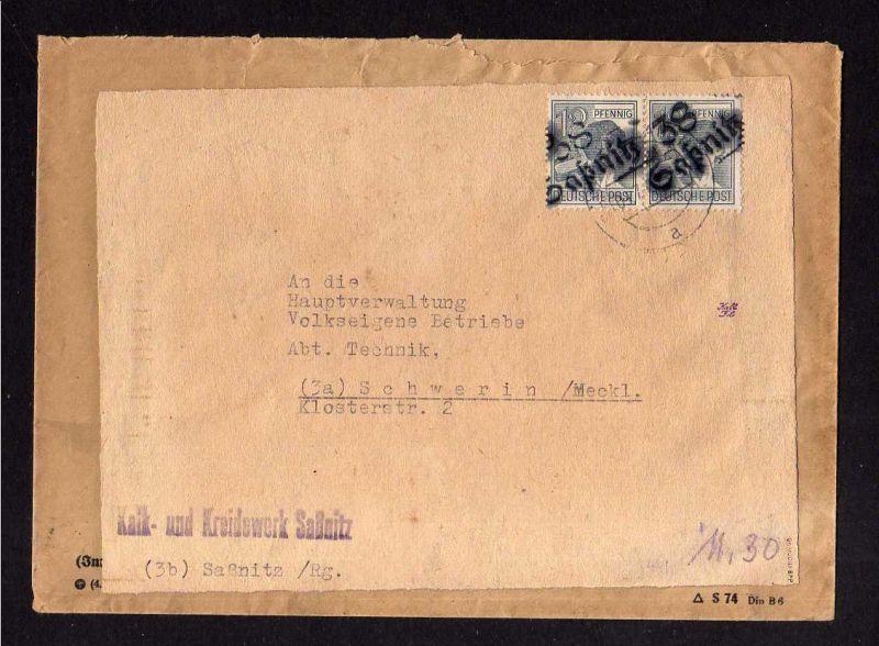h1029 Brief Handstempel Bezirk 38 Saßnitz gepr. Dr. Modry BPP 2x 12 Pfg. 9.7.48
