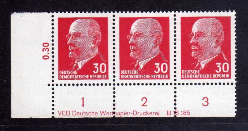 DDR 1963 935 X x I DV Druckvermerk 2 ** Dauerserie 30 Pfg. Walter Ulbricht