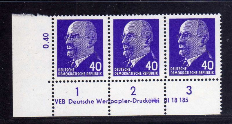 DDR 1963 936 X x I DV Druckvermerk 1 ** Dauerserie 40 Pfg. Walter Ulbricht