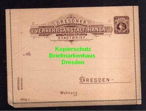 Privatpost Hansa Dresden Ganzsache Stadtbrief hellbräunlich