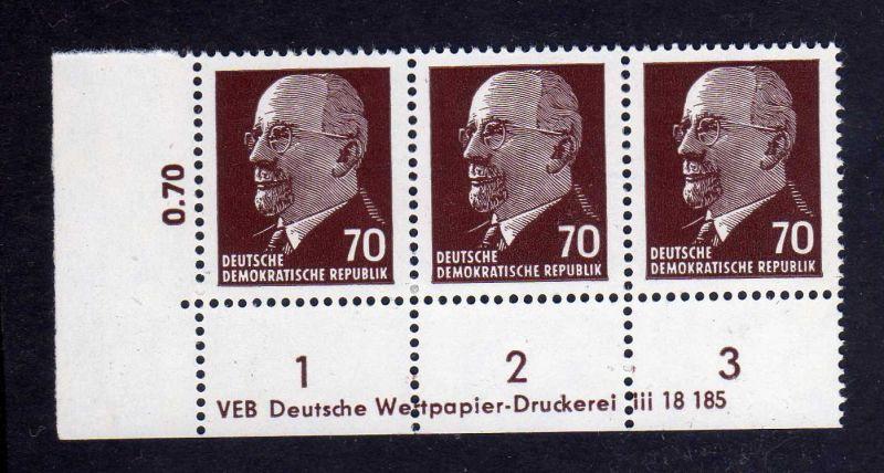 DDR 1963 938 X x I DV Druckvermerk 1 ** Dauerserie 70 Pfg. Walter Ulbricht