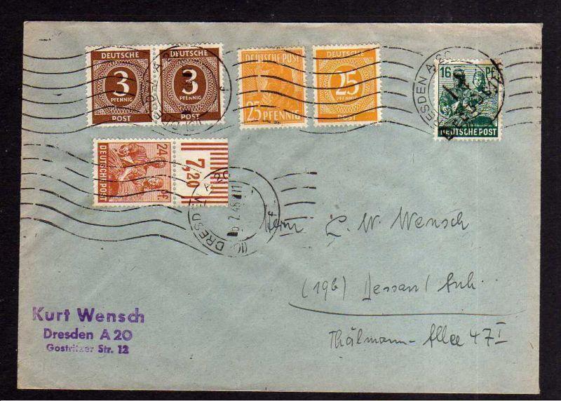 h1134 Brief Handstempel Bezirk 14 Dresden 8 + Zehnfach gesamt 24 Pfg. Fernbrief