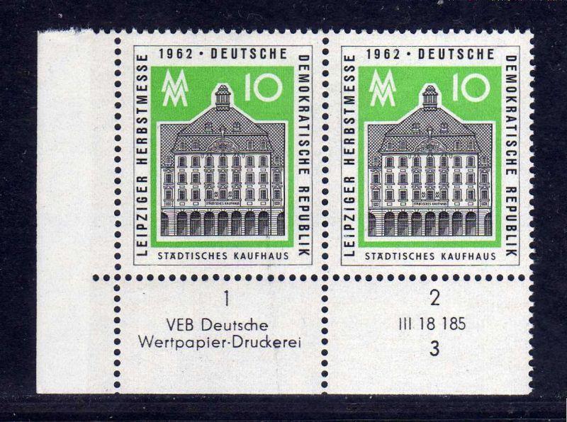 DDR 1962 913 DV Formnummer 3 Druckvermerk ** Leipziger Herbstmesse