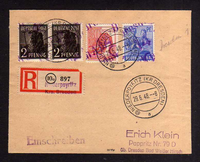 h1141 Brief Handstempel Bezirk 14 Dresden A19 Einschreiben Niederpoyritz gepr. D