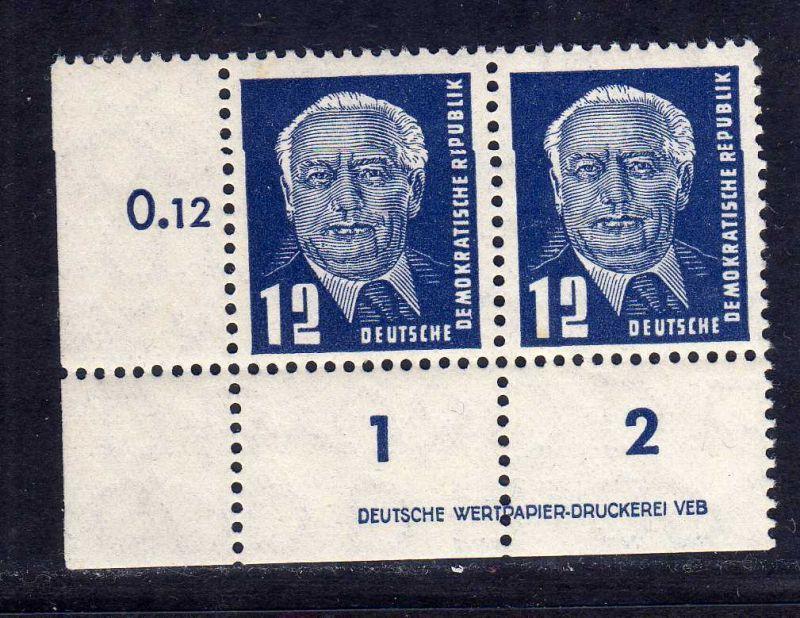 DDR 1952 323 za XI ** DV Druckvermerk nicht gefalten allseits durchgezähnt