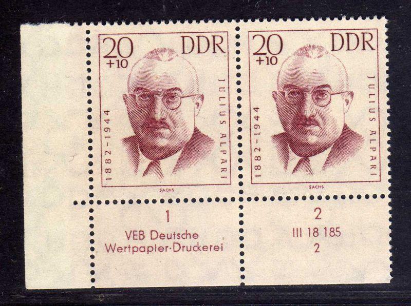 DDR 1962 921 DV Formnummer 2 Druckvermerk ** Antifaschisten 20+10 Pfg.