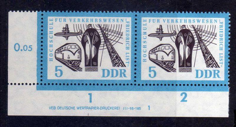 DDR 1962 916 DV Formnummer 1 Druckvermerk ** Hochschule für Verkehrswesen Fr