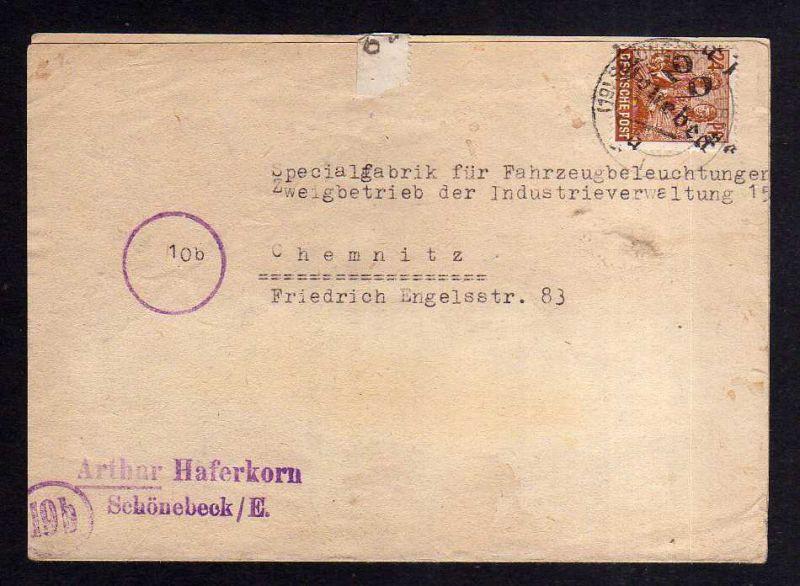 h877 Brief Handstempel Bezirk 29 Schönebeck 1 13.7.48 24 Pfennig a Spezialfabrik