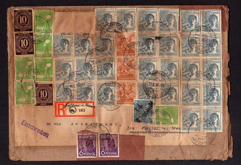 h1191 Brief Handstempel Bezirk 14 Tharandt Dorfhain 30.6.48 Einschreiben gepr Dr