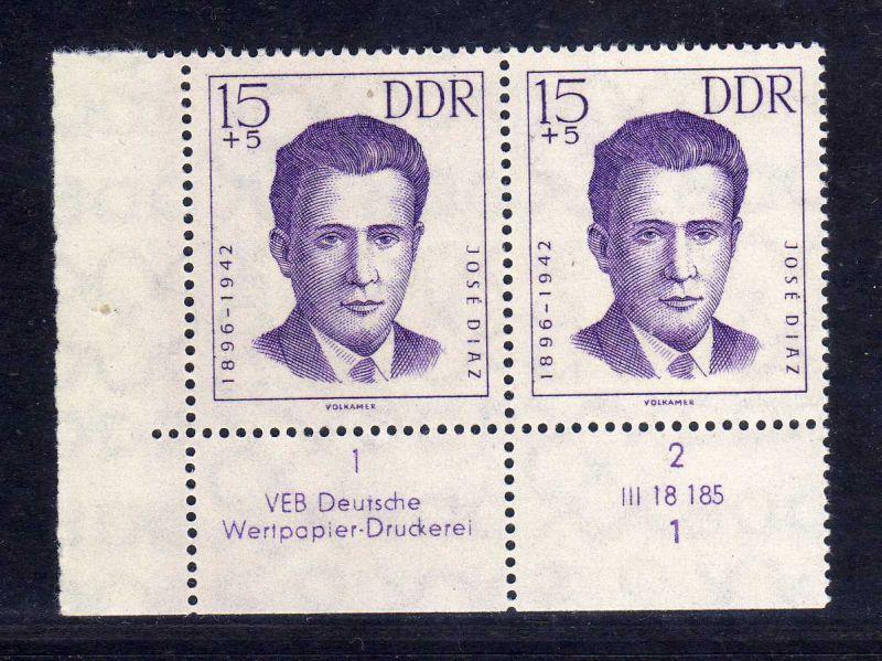 DDR 1962 920 DV Formnummer 1 Druckvermerk ** Antifaschisten 15+5 Pfg.