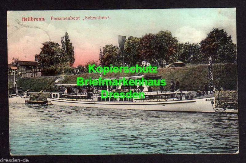 Ansichtskarte Heilbronn Personenboot Schwaben Offenau 1908 Nr ... 06026ef4c96