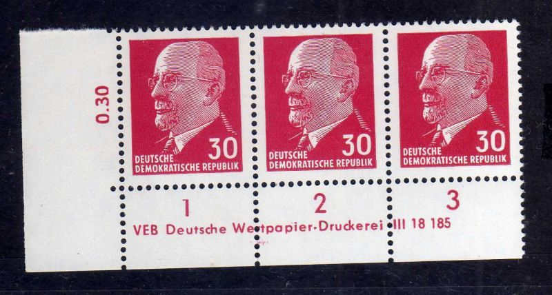 DDR 1963 935 X x I DV Druckvermerk 1 ** Dauerserie 30 Pfg. Walter Ulbricht