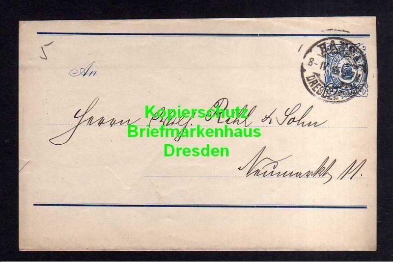 Privatpost Hansa Dresden 1896 Ganzsache Streifband