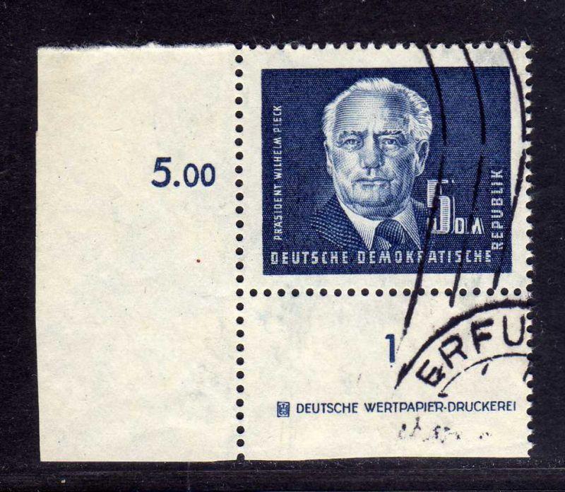 DDR 1950 255 DZ Druckereizeichen 5.- Pieck gestempelt