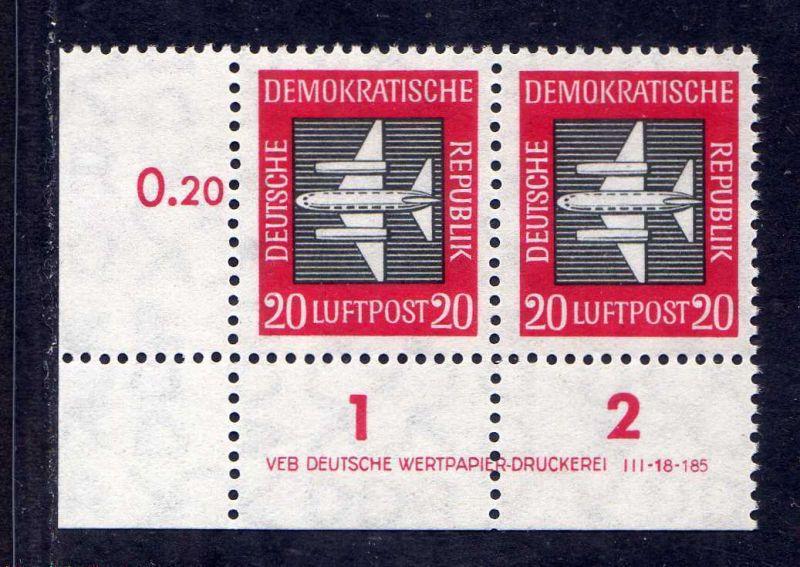 DDR 1957 610 Luftpost Dauerserie 20 Pfg. R 1-2 ** DV ungefalten nicht angetr