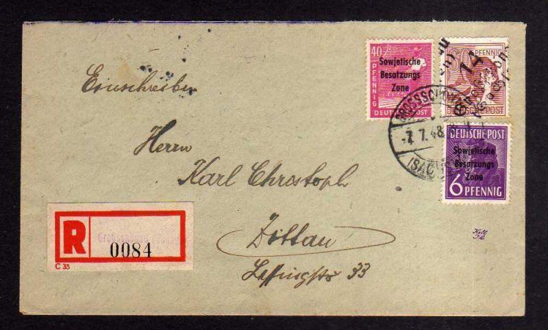 h1179 Brief Handstempel Bezirk 14 Großschönau 7.7.48 Einschreiben gepr Dr. Böhei